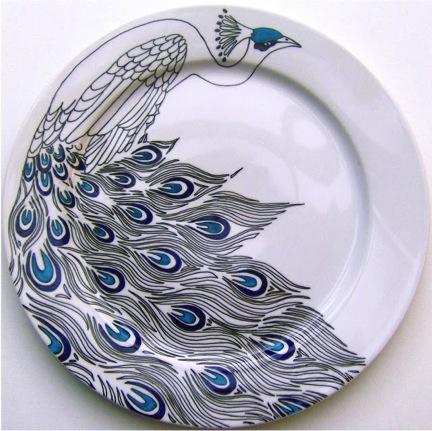peacock porcelain pen plate