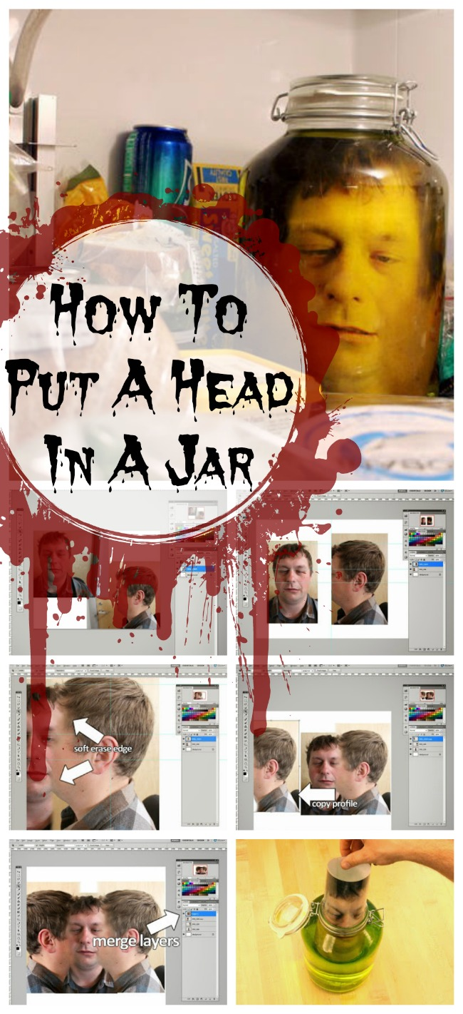 Halloween craft how to put a severed head in a jar do it yourself severed head in jar collage solutioingenieria Image collections