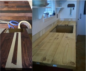 How to refinish your kitchen counter tops for only 30 - Diy faux butcher block countertops ...