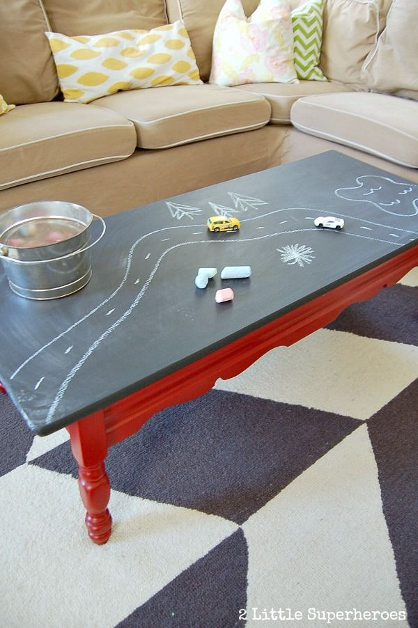 Diy chalk board coffee table do it yourself fun ideas for Creative chalkboard coffee table