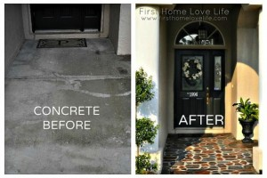 front door and entry diy refurb with painted concrete