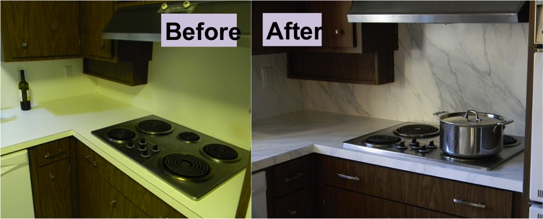 How To Refinish Laminate Counters with Faux Marble - Do-It-Yourself White Granite For Kitchen Countertop Ideas Html on white refrigerator kitchen ideas, counter top kitchen ideas, white cabinets kitchen ideas, white appliances kitchen ideas,
