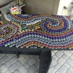bottle cap mosaic table how to