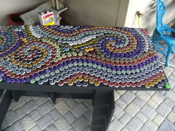 How to make a bottle cap mosaic table do it yourself fun for What to make with beer bottle caps