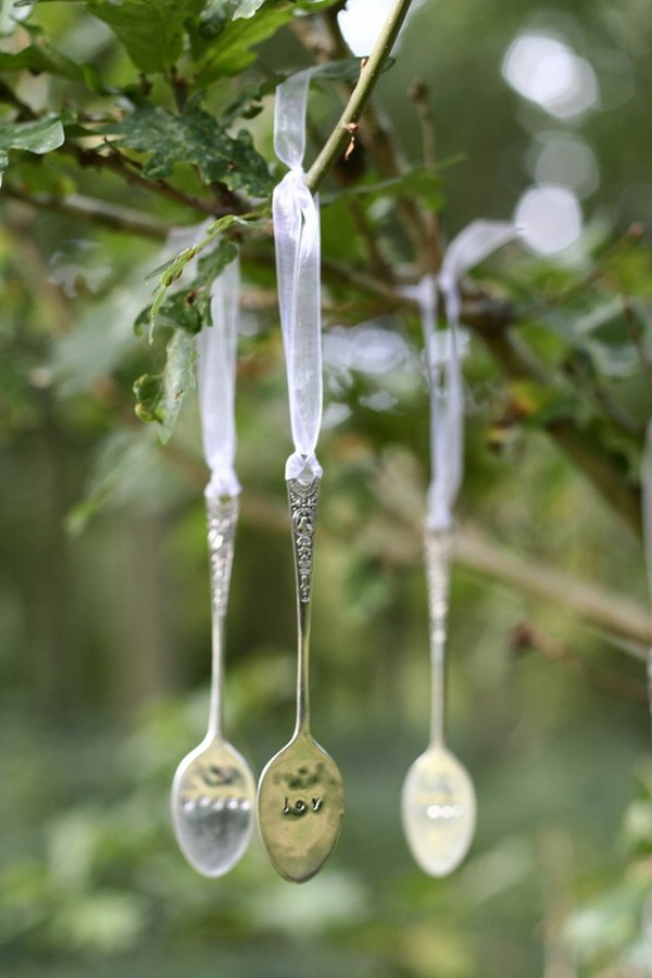 Spoon christmas tree ornaments