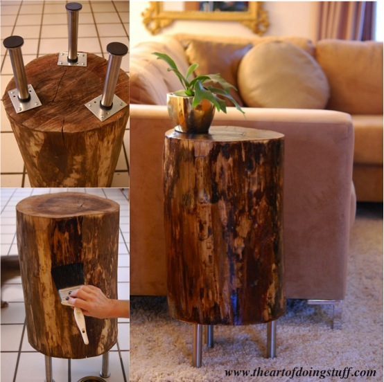 How to make a tree stump side table do it yourself fun ideas for Tree trunk slice ideas