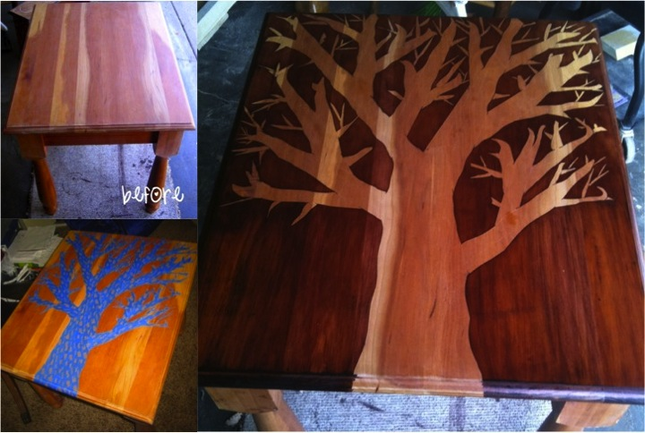 Diy Wood Stain Stenciled Table Do It Yourself Fun Ideas