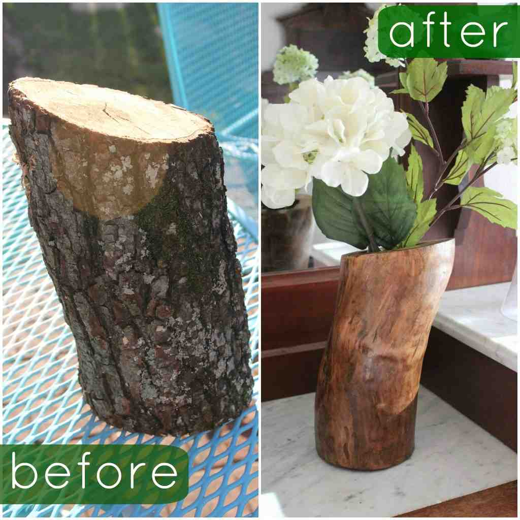 Diy log vase do it yourself fun ideas source funwiththefullwoodsspot reviewsmspy
