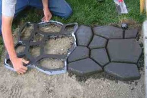 diy concrete cobblestone path 2