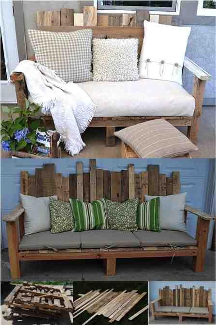 Fantastic diy outdoor pallet sofa do it yourself fun ideas for Sofa exterior diy