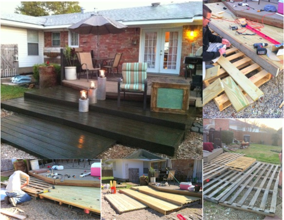 how to build a pool deck out of pallets