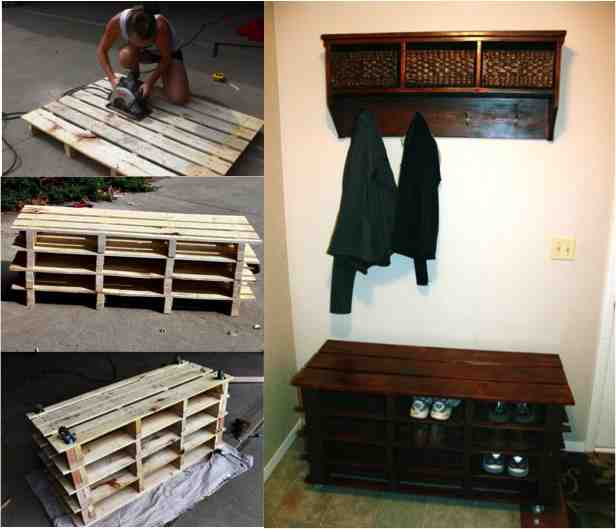 diy pallet storage bench and shelf