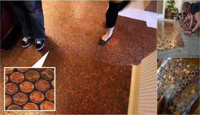 Brown paper faux wood floors for less than 90 do it yourself fun diy penny floors solutioingenieria Image collections