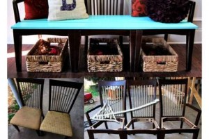diy repurposed chair bench