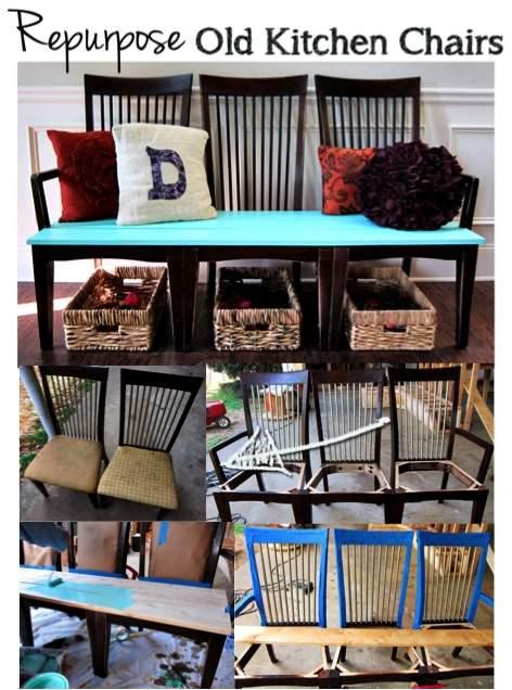 diy repurposed chair bench