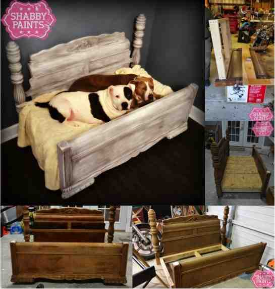 Diy bed frame upcycled to gorgeous pet bed do it yourself fun ideas diy shabby chic pet bed solutioingenieria