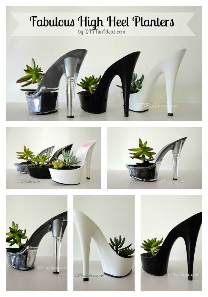 high heel planters succulents