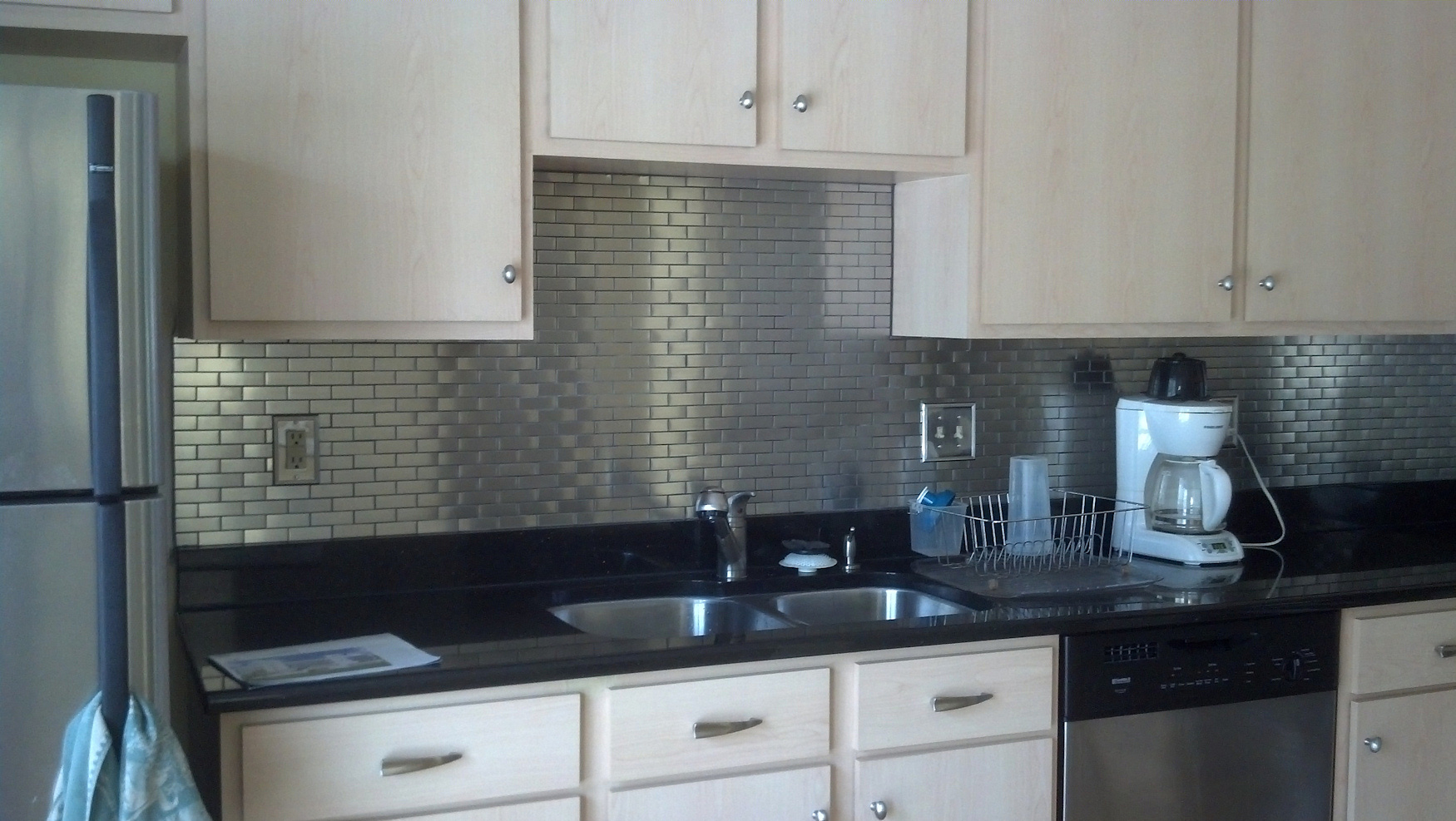 stainless steel subway tile kitchen backsplash - Kitchen Metal Backsplash