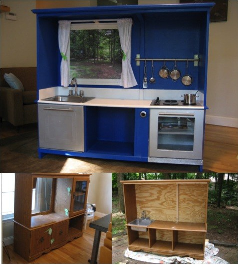 Entertainment Center Kitchen Set: How To Transform A TV Cabinet Into A Kid's Playhouse