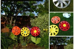 diy hubcap flower garden art