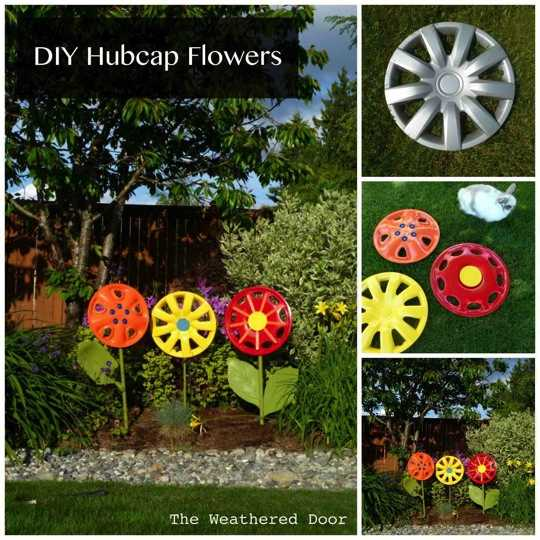 Diy hubcap flower garden art do it yourself fun ideas for Homemade garden decor crafts