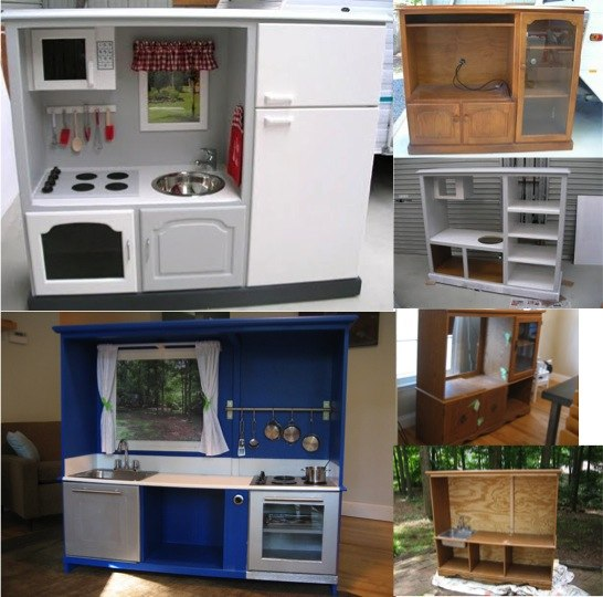 diy repurposed cabinet to playhouse