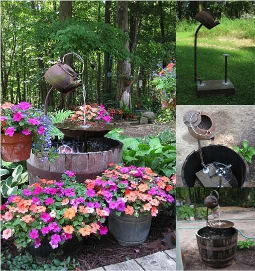 Diy tea pot garden fountain do it yourself fun ideas diy tea pot water fountain solutioingenieria Images