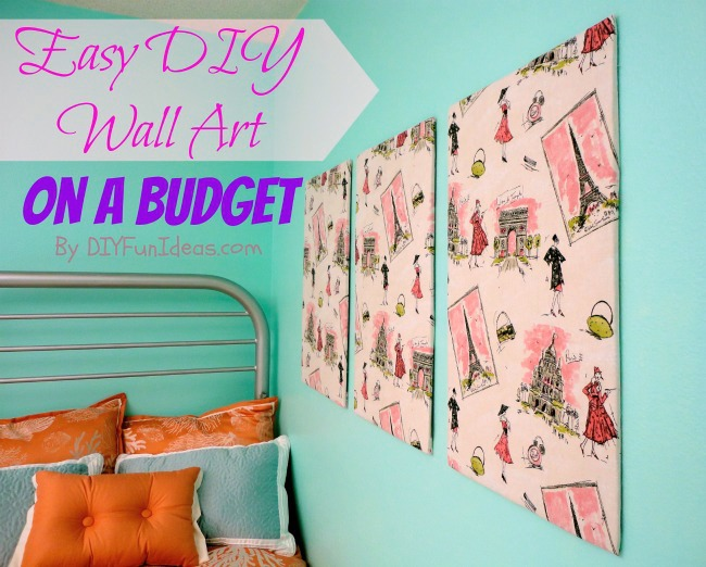Super easy fabric panel diy wall art on a budget do it yourself easy diy fabric wall art solutioingenieria Image collections