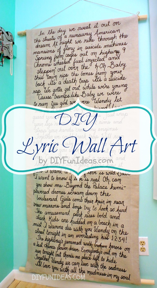 Diy Song Lyric Wall Art On Dropcloth Canvas Do It