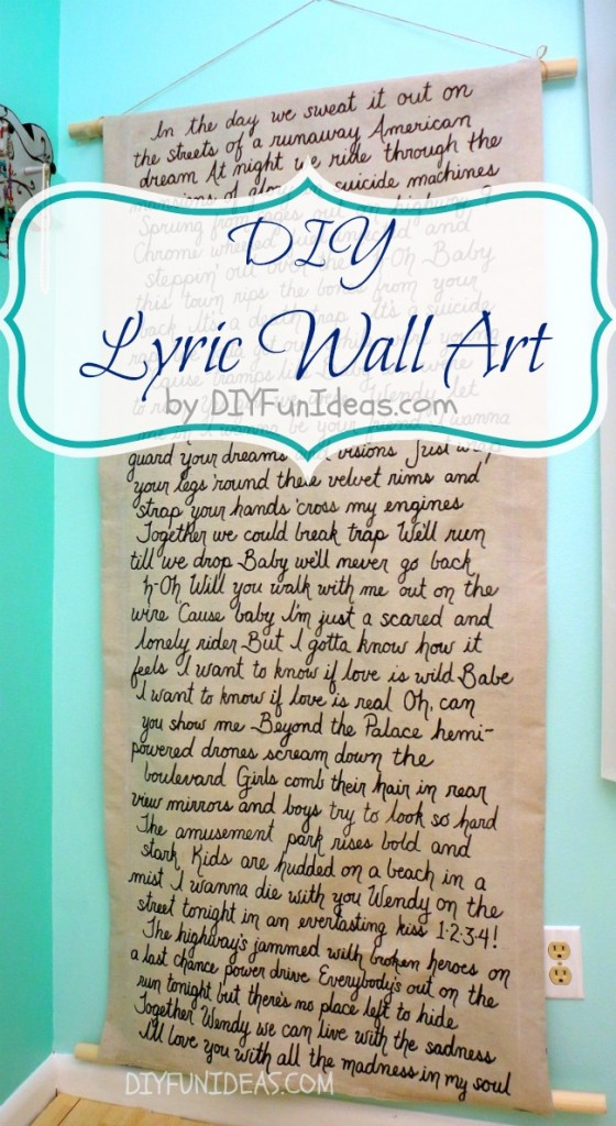 DIY Lyric wall art