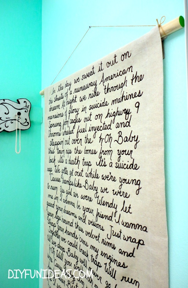 DIY Lyric wall art on painters canvas