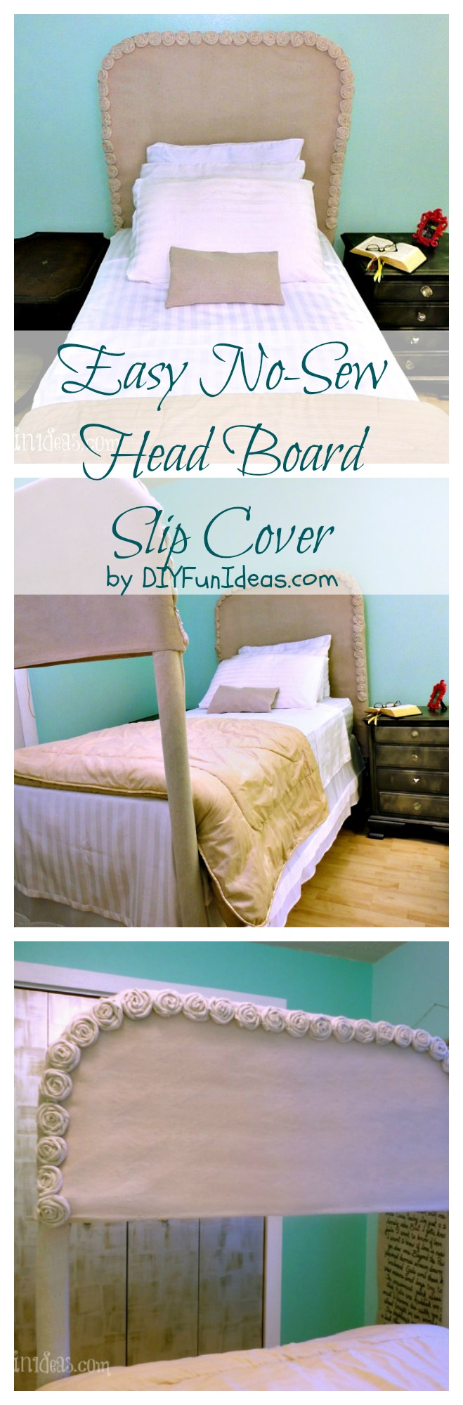 DIY No-sew drop cloth rosette headboard slip cover