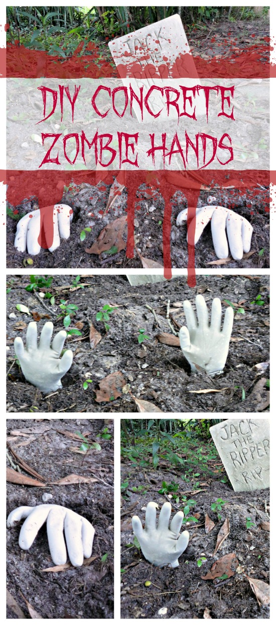 Halloween Craft How To Make Concrete Zombie Hands Do It Yourself