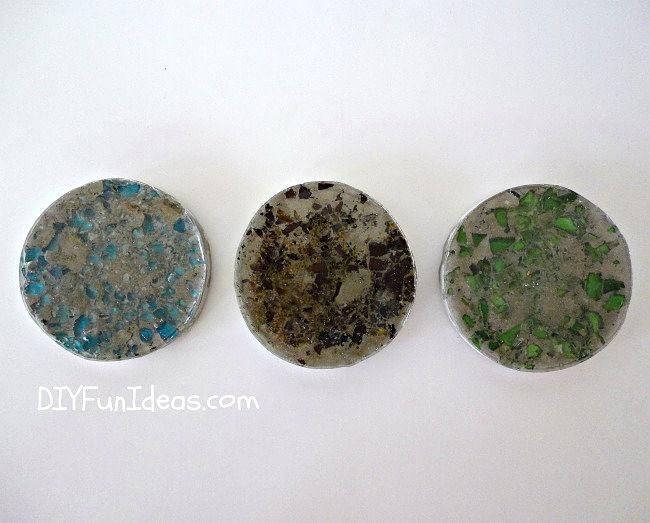 Como fazer esmagado Vidro Concreto Coasters