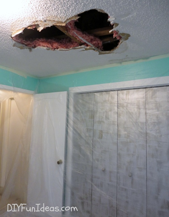 how to repair a hole in your ceiling drywall. Black Bedroom Furniture Sets. Home Design Ideas