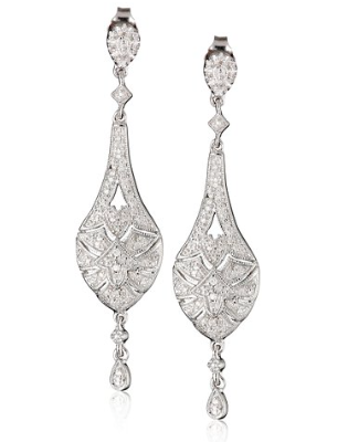 Sterling Silver and Diamond Vintage-Inspired Dangle Earrings (1/3 cttw)