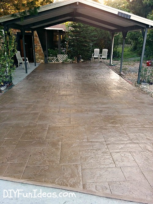 Gorgeous diy stamped concrete tile driveway for less ch less diy stamped concrete tile driveway solutioingenieria Image collections