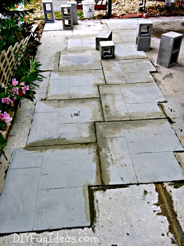 Gorgeous diy stamped concrete tile driveway for less ch less diy stamped concrete tile driveway solutioingenieria