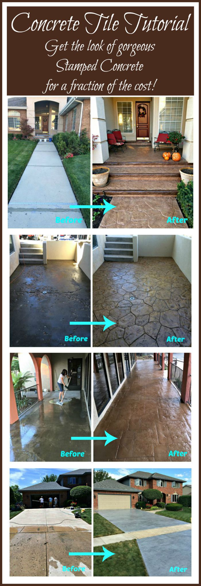 DIY CONCRETE TILE TUTORIAL - Get the look of stamped concrete for a fraction of the cost!
