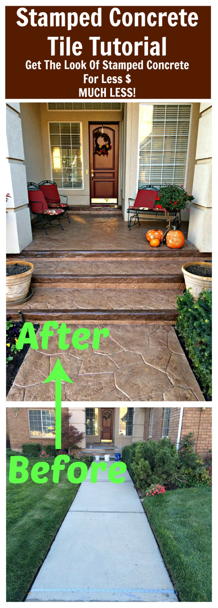 Diy stamped concrete tile tutorial do it yourself fun ideas diy stamped concrete tile tutorial get the look of stamped concrete for less dailygadgetfo Gallery