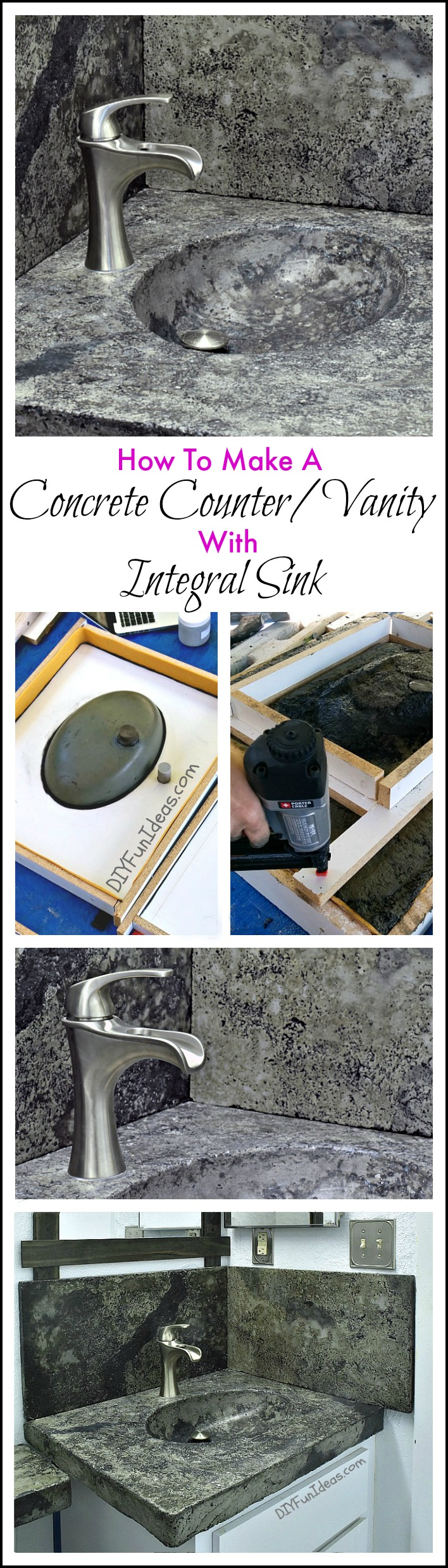 Concrete Sink Diy How To Make A Concrete Countertop Or Vanity With Integral Sink