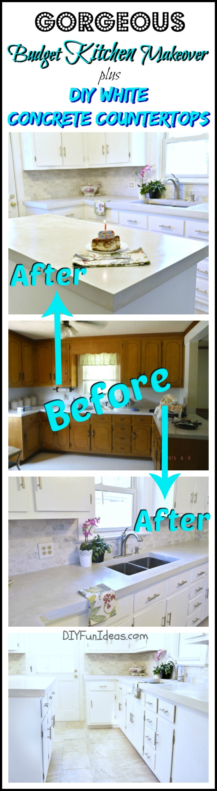 Kitchen Countertop Options Diy : ... DEAD GORGEOUS DIY KITCHEN MAKEOVER with DIY WHITE CONCRETE COUNTERTOPS