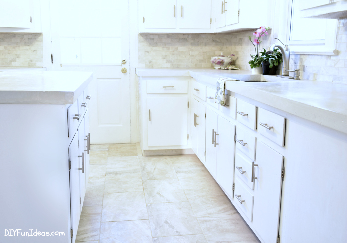 Fancy A MUST SEE DROP DEAD GORGEOUS DIY KITCHEN MAKEOVER with DIY WHITE CONCRETE COUNTERTOPS