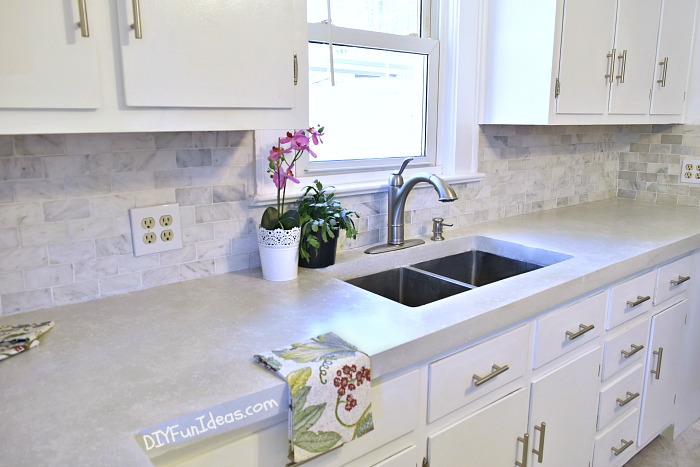 How to make diy cast in place white concrete countertops for Budget kitchen cabinets ltd