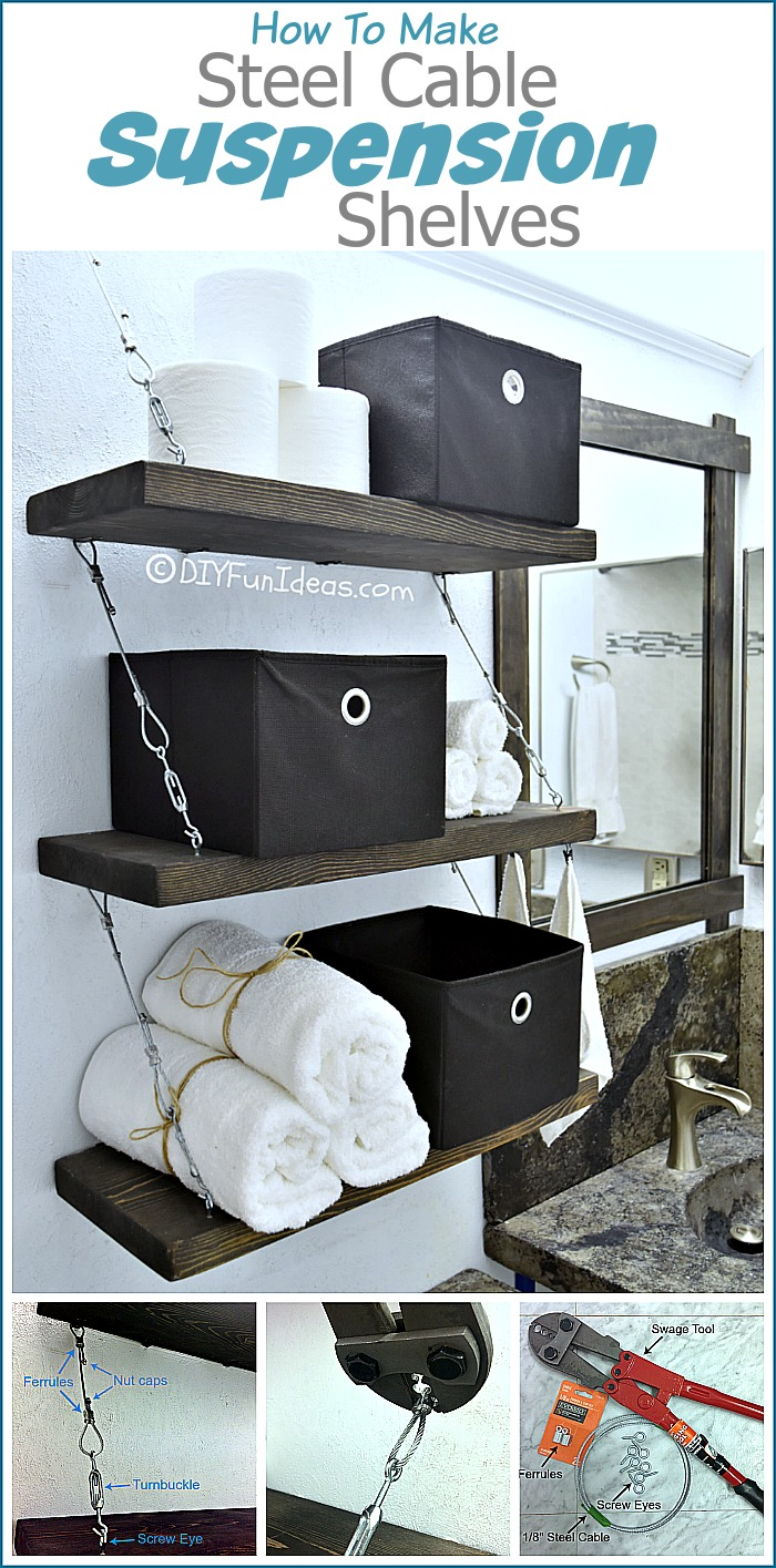 These steel cable suspension shelves are amazing. The hardware adds so much to them and I'm loving the industrial feel.