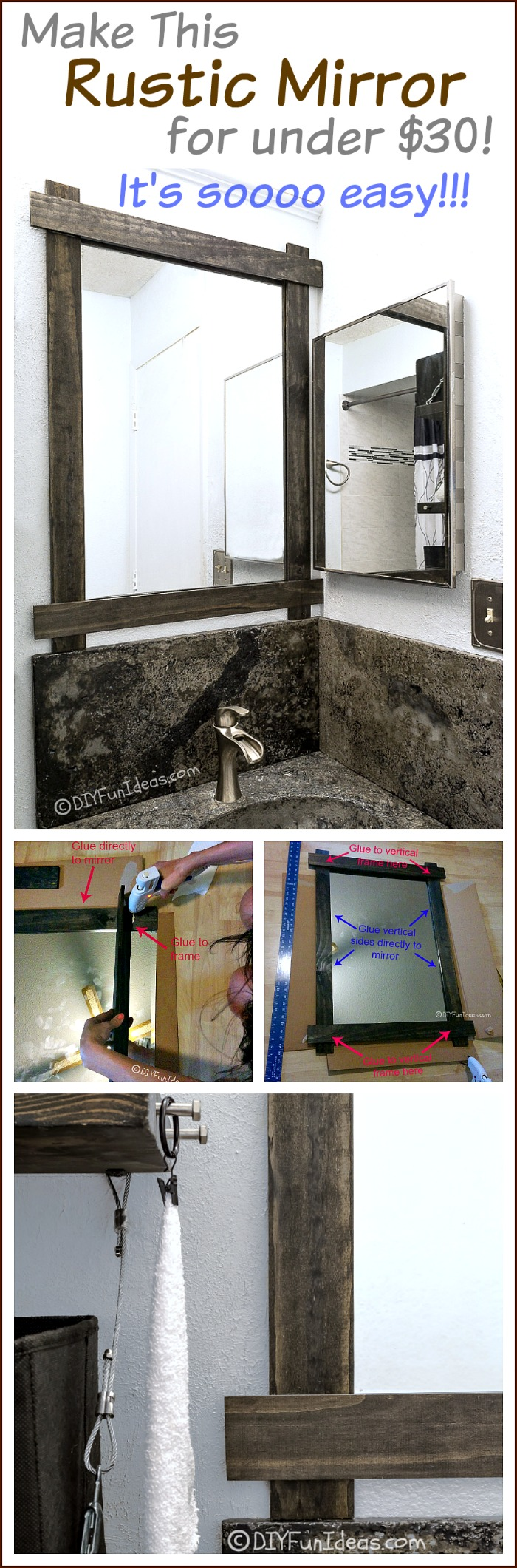 MUST SAVE THIS MIRROR UPDATE!! So easy and inexpensive to customize a mirror for a cool rustic look. Just need some slabs of wood and glue. Really it's that easy!