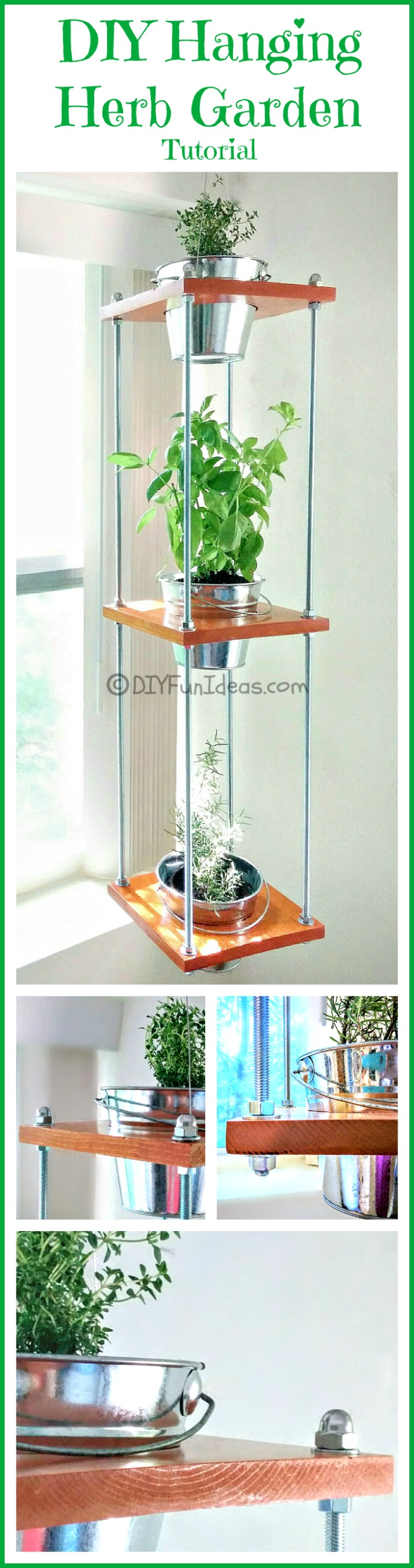 EASY DIY HANGING HERB GARDEN....Industrial Style