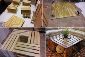 DIY wine crate coffee table.