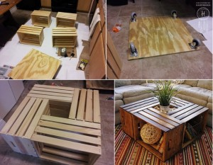 DIY wine crate coffee table.