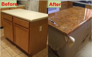 DIY kitchen counter refinish laminate